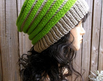 Crochet Accordion Hat, Slouch Hat, Winter Hat, Crochet Hat, Womens Hat, Ribbed Beret, Unisex Winter Hat in Lime Green and Winter White