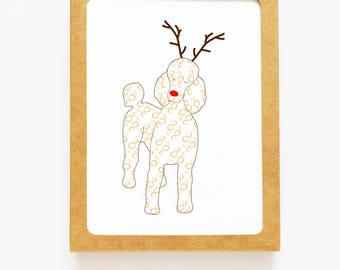 Holiday Poodle Reindeer Card for Christmas Greetings or Happy New Year Cards