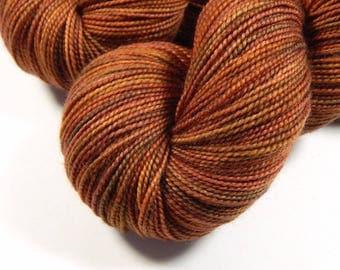 Hand Dyed Yarn - Sock Weight Superwash Merino Wool Yarn - Spice - Knitting Yarn, Sock Yarn, Fingering Yarn, Autumn Colors, Rust Orange Gold