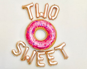 TWO SWEET Letter Balloons, Two Sweet Birthday, Donut 2nd Birthday Party, Two Sweet, Two Balloons, Two Sweet Party, Donut Birthday, Donuts