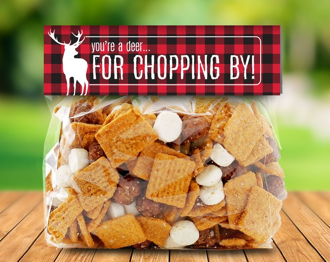"""Lumberjack Party Favor Bag Topper - S'more Treat Favor Topper, 6.5"""" Baggie Topper, S'more 