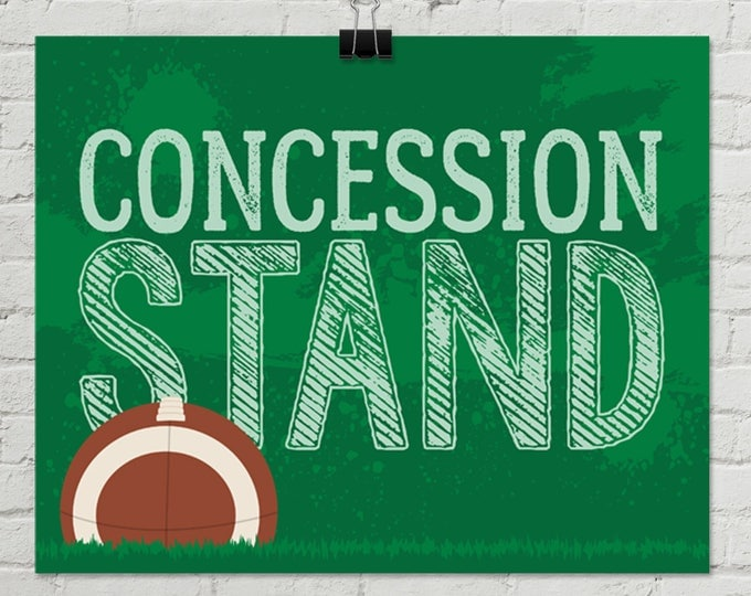 "Football - Concession Stand 8"" x 10"" Sign - Football Party, Bowl Party, Football Decor 