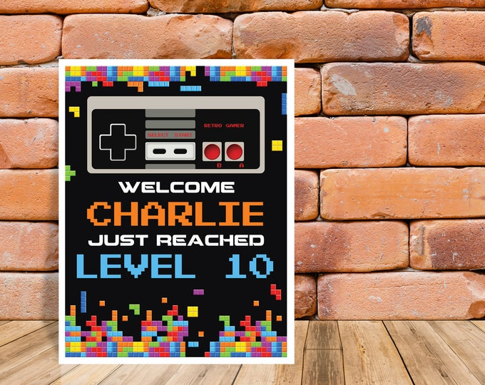 "Video Gamer Party Sign - 8""x10"" Welcome Sign, Game Truck Birthday, NES Sign, Self-Editing 