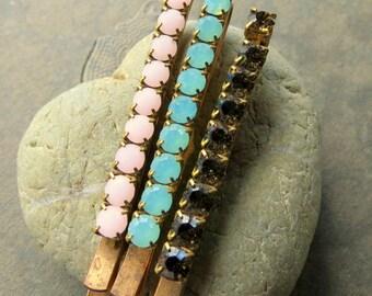 Swarovski Crystal and Brass Barrettes . 3 pieces