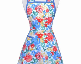 Stella 50s Style Retro Apron - Blue Yellow and Red Large Floral Womans Vintage Inspired Cute Housewife Kitchen Apron with Pocket (DP)