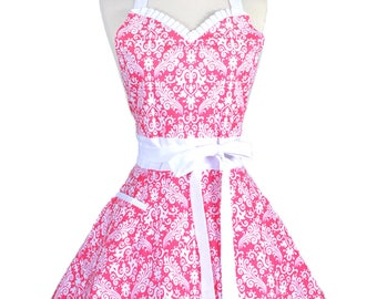 Sweetheart Womens Retro Apron in Pink Damask Cute Flirty Wedding or Kitchen Apron with Personalized Monogram Option (DM)