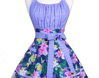 Flirty Chic Retro Apron in Womens Sexy Hibiscus and Hummingbirds Purple Pink Tropical Floral Pinup Apron with Personalized Monogram Option