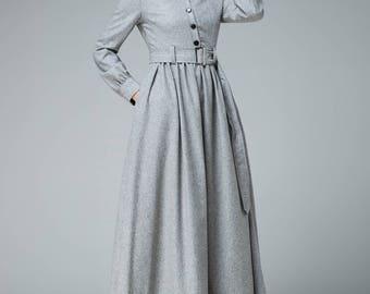 Shirt dress, wool dress, winter dress, maxi dress, pleated dress, warm dress, women dress, grey dress, long sleeves dress, casual dress 1849