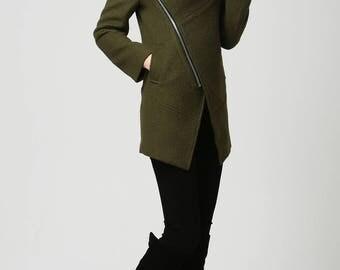 Moss Green jacket, short coat, wool coat, Womens jackets, Short  Wool Coat, hooded jacket, Asymmetrical jacket , Unique Womens Coats  (1128)
