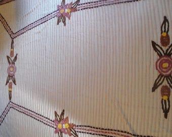 Vintage Chenille Double Bedspread Pink Mauve