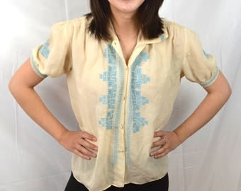 Vintage European Embroidered Greek Hippie Boho Gauzy Cochella Summer Festival Top Tunic
