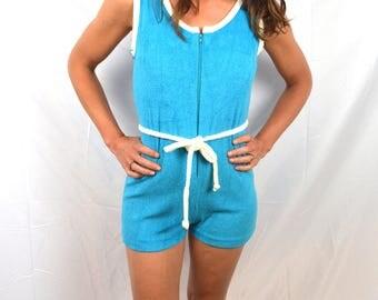 Vintage Terry Cloth 70s 80s Onesie Tropical Teal Summer Romper