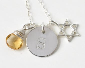 Personalized Star of David Birthstone Initial Necklace 18 Inch Sterling Silver / Personalized Bat Mitzvah Gifts / Jewish Jewelry