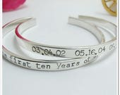 Personalized Cuff Bracelet - Hand Stamped Sterling Silver Bracelet - Coordinate Bracelet - Anniversary Gift - Personalized Gift
