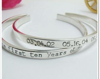 Personalized Silver Cuff Bracelet - Hand Stamped Sterling Silver Bracelet - Coordinate Bracelet - Anniversary Gift - Personalized Gift