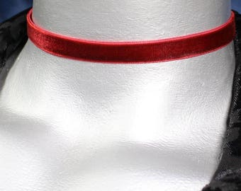 Plain Dark Red Burgundy Velvet Choker Necklace - 10mm - Adjustable