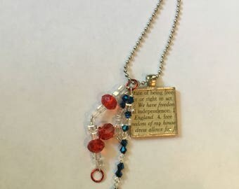 4th of July Necklace , July the 4th American Flag Necklace , Fourth of July Necklace