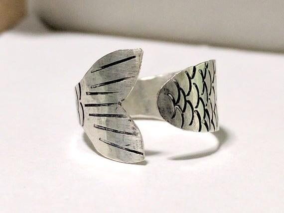 Mermaid Tail Ring, Sterling Silver Ring, Adjustable Ring, Custom Sizing