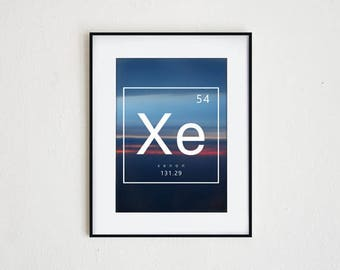 XENON | instant download, periodic table print, printable wall art, science decor, modern table of elements graphic, abstract photography