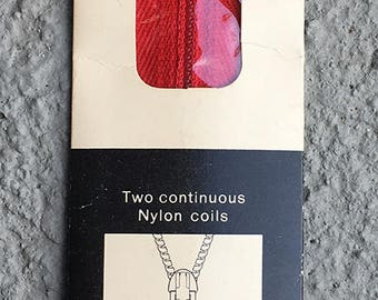 "12"" red Talon Zephyr dress or neckline zipper - NYLON. Style 20-1. 1970s."