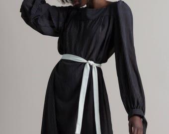Vintage 80s Sheer Striped Poet Sleeve Shift Dress