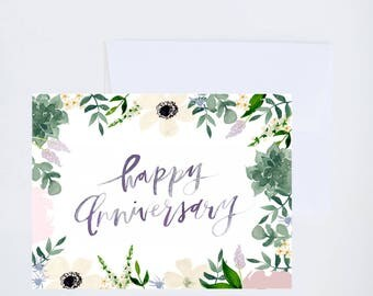 Wedding / Love Greetings - Happy Anniversary - Painted & Hand Lettered Cards - A-2