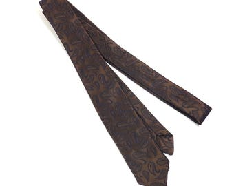 Wemlon Wembley Paisley Bronze and Black Skinny Tie Vintage 1960s Necktie Mens Tie - FREE Domestic Shipping