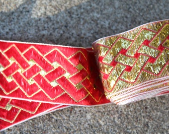 Vintage Embroidered Trim Gold Red Remnants Sewing Crafting Supplies