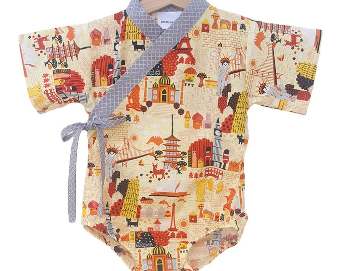 Baby Kimono - WORLD TRAVELS - Baby outfit - cool baby clothes japanese jinbei