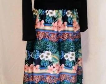 Vintage 70's Henry Lee Black Floral Midi Dress