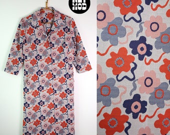 GROOVY Vintage 60s 70s Blue & Red Psychedelic Retro Flower Power Mod Shift Dress