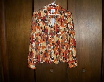 Women's  Shirt/Blouse sz L Boho  Retro   Fall colors Orange brown yellow  Christopher Banks  Stretch  Cotton on SAle