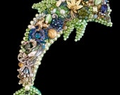 Dolphin Vintage Jewelry Art - Jewelry Wall Art - Jeweled Dolphin - Dolphin Art - Ocean Beach House Decor - Vintage Jewelry Dolphin - Sonar