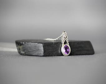 Amethyst Pendant Necklace - Bali Silver Necklace - Petite Necklace - Single Stone - February Birthstone - Purple Gemstone - Gift for Her