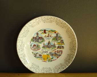 Iowa Love - Vintage State Souvenir Plate