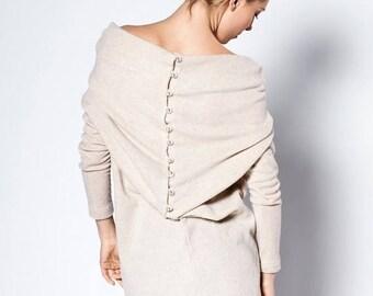 SALE - Cream dress | Tube dress | Sweater dress with buttons | LeMuse cream dress