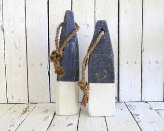Wooden Buoys, Nautical Decor, Coastal Decor, Lobster Buoys, Beach Decor, Navy and White, Rustic Beach Decor, Old Buoys, Reclaimed Wood Buoy