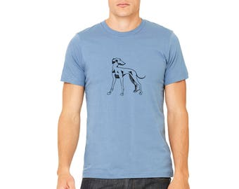 Unisex Greyhound Shirt, Dog Tshirts for Men, Hand Screen-printed, Whippet Tshirt, Italian Greyhound Graphic Tee, Gifts for Men, Dog Daddy