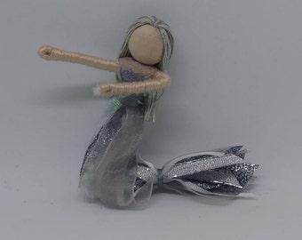 New!  Mermaid Bendy Doll by Tracys Garden Fairies -Silver tale