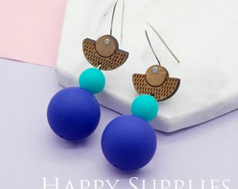 1 Pair (SBW03) Silicone Balls Laser Cut Geometric Wooden Dangle Earrings - HEW Series - Ocean Sea Summer Beach