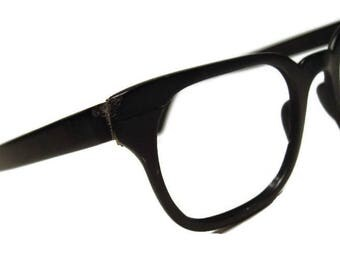 Vintage Black Horn Rim With Silver Accents Eyeglasses Frame Tura