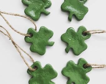 Shamrock Ornaments / Salt Dough Ornaments  / Set of 6  / St Patrick's Day