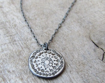 Custom Order For Sybille - 5 Oxidized Silver Disc Necklaces