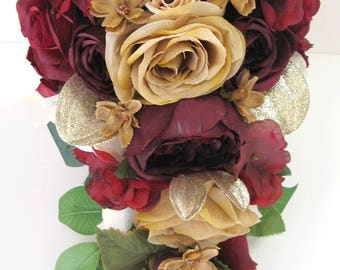 Wedding Bouquets Bridal Bouquet Silk Flowers 17 Piece Package Party Cascade BURGUNDY WINE GOLD