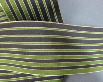 Vintage wide stripe ribbon French rayon faille 2 5/8 in green black Y945