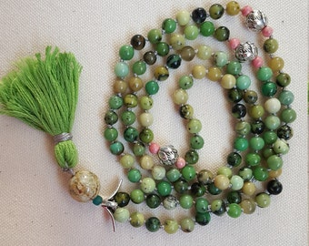 China Chrysoprase Mala Necklace | Meditation Beads | Mala Necklace | Mala | 108 Beads| Japa Mala| Gemstone Mala Necklace