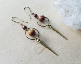 Red Jasper Antique Gold  // Brass Spike Drop Earrings