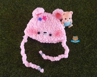 PINK kawaii bear hat for Littlefee, hat for Person Secretdoll, 6-7 inches heads