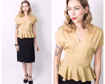 Vintage 1940's Gold and Black Peplum Dress/ 40's Rayon Colour Block Dress Size Small