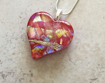 Dichroic Jewelry - Dichroic Fused Glass Jewelry - Red Heart Fused Dichroic Glass Pendant & Necklace - 144-16